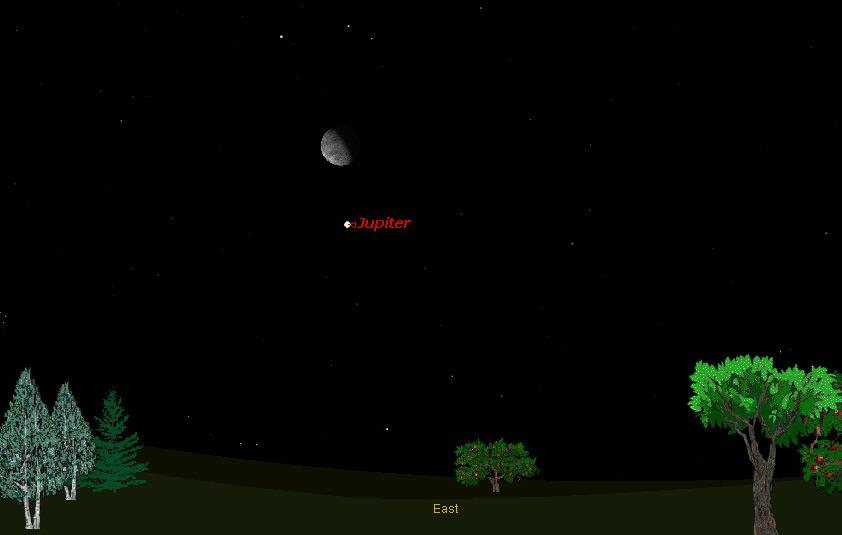 Moon Teams Up With Bright Jupiter Tonight