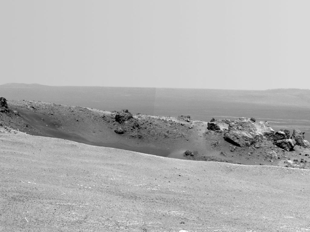 Opportunity Rover's View of Odyssey Crater