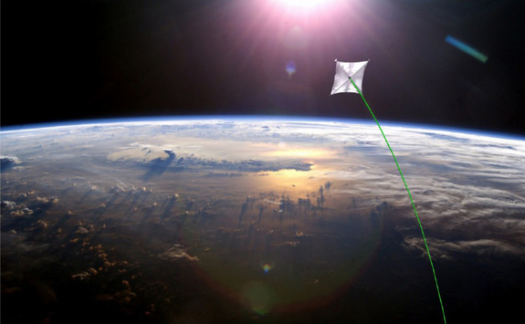 This artist's conception shows a solar sail high above the Earth.