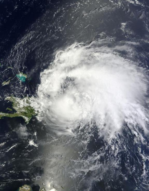 Hurricane Irene, the first hurricane of the 2011 Atlantic hurricane season, was seen from space today (Aug. 22) as it roared past Puerto Rico.