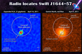 To link the Swift event to the galaxy required observations at radio wavelengths, which showed that the galaxy's center contained a brightening radio source.