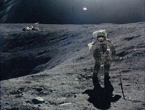 Exploring Plum Crater During Apollo 16