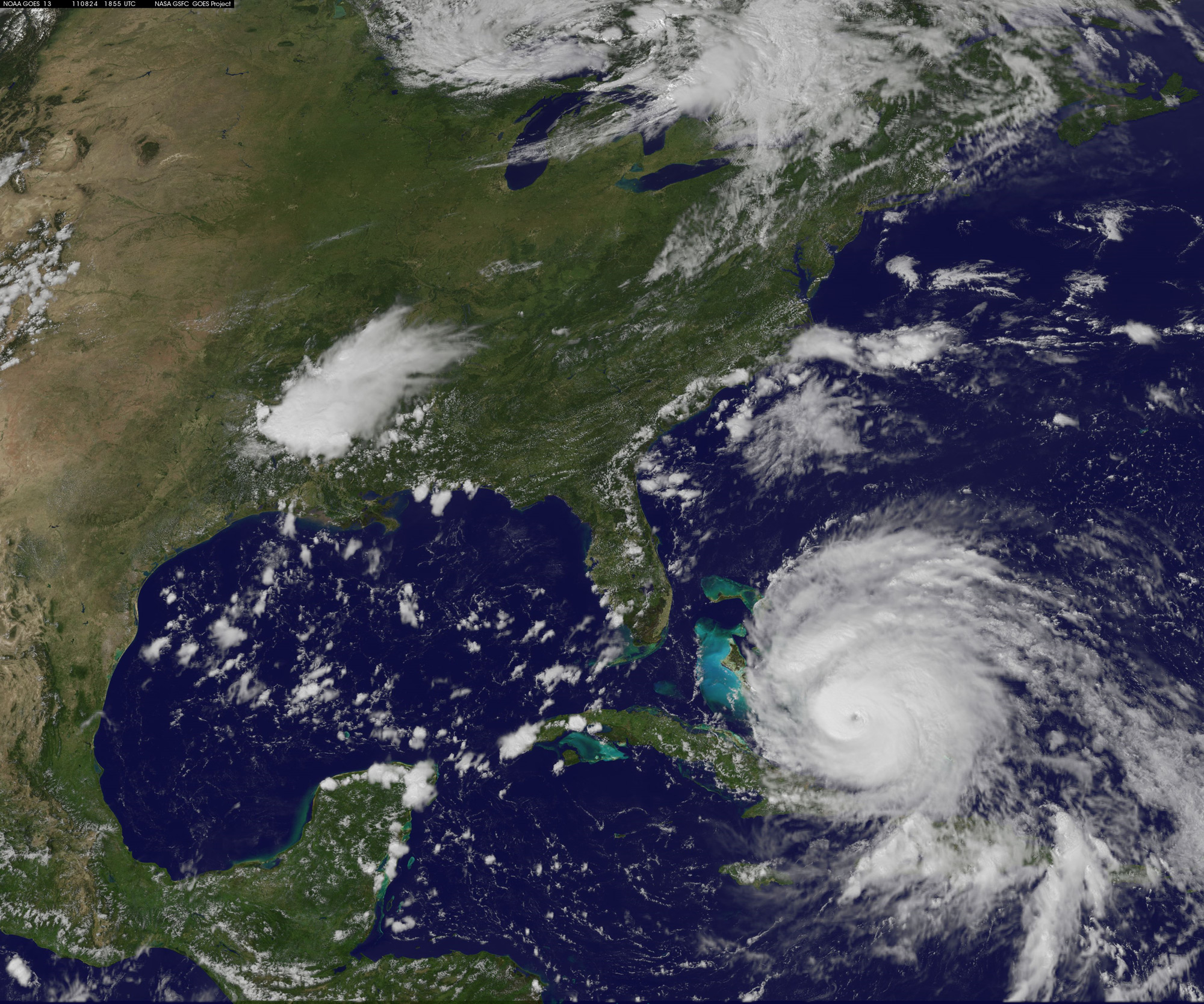 Hurricane Irene as Seen by the GOES Satellite on August 24, 2011.