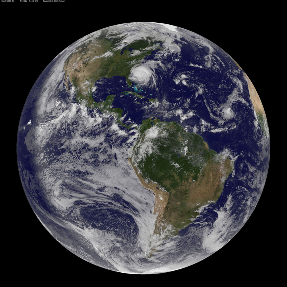 Earth Showing Hurricane Irene August 26, 2011