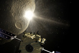 The key moment of the Don Quijote mission: the Impactor spacecraft (Hidalgo) smashes into the asteroid while observed, from a safe distance, by the Orbiter spacecraft (Sancho).