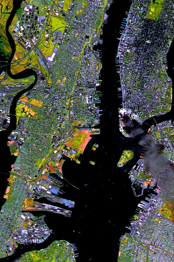 SPOT Satellite Images of World Trade Center Fires (Wider)