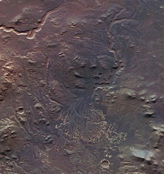 Telltale delta features, such as squiggly lines that represent water feeder channels, can be seen in this Mars Express photo of Eberswalde Crater on the Red Planet.