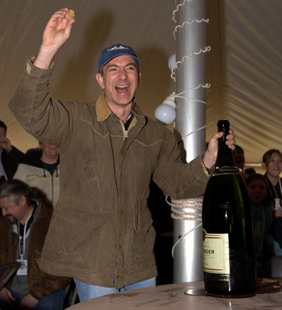 Jeff Bezos celebrates a test launch of Goddard vehicle.