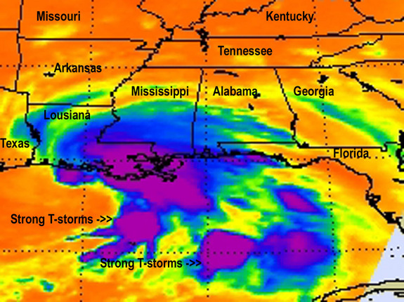 This infrared image of Tropical Storm Lee on Sept. 3 at 3:47 a.m. EDT and showed the coldest clouds and strongest thunderstorms (purple) over southeastern Louisiana and the Gulf of Mexico. NASA's Aqua Earth observation satellite snapped this view.