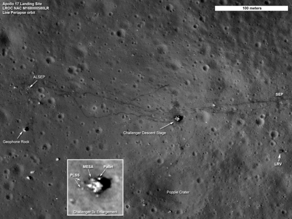 The twists and turns of the last tracks left by humans on the moon crisscross the surface in this LRO image of the Apollo 17 site. In the thin lunar soil, the trails made by astronauts on foot can be easily distinguished from the dual tracks left by the lunar roving vehicle, or LRV. Also seen in this image are the descent stage of the Challenger lunar module and the LRV, parked to the east.