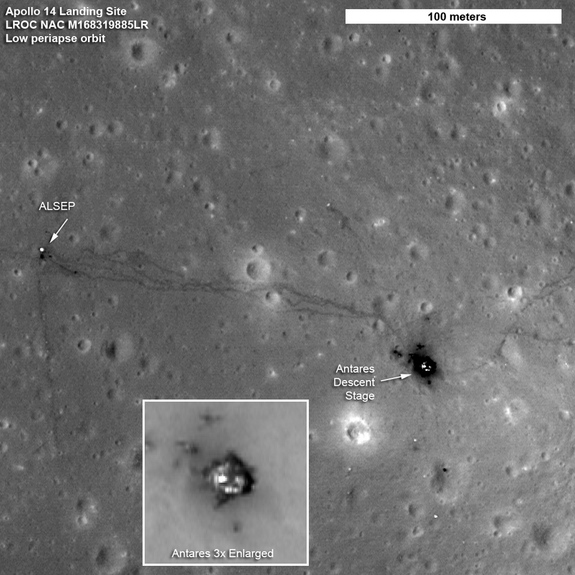 The paths left by astronauts Alan Shepard and Edgar Mitchell on both Apollo 14 moon walks are visible in this LRO image. (At the end of the second moon walk, Shepard famously hit two golf balls.) The descent stage of the lunar module Antares is also visible.