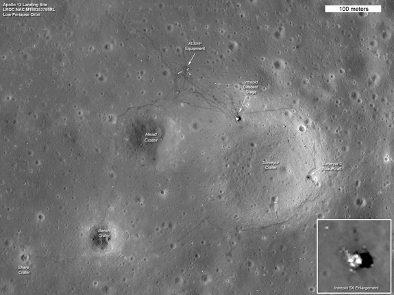 The tracks made in 1969 by astronauts Pete Conrad and Alan Bean, the third and fourth humans to walk on the moon, can be seen in this LRO image of the Apollo 12 site. The location of the descent stage for Apollo 12's lunar module, Intrepid, also can be seen.