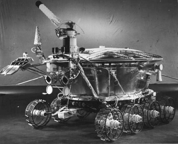 On November 17, 1970 the Soviet Luna 17 spacecraft landed the first roving remote-controlled robot on the Moon. Known as Lunokhod 1, it weighed just under 2,000 pounds and was designed to operate for 90 days while guided by a 5-person team on planet Earth at the Deep Space Center near Moscow, USSR. Lunokhod 1 actually toured the lunar Mare Imbrium (Sea of Rains) for 11 months in one of the greatest successes of the Soviet lunar exploration program.