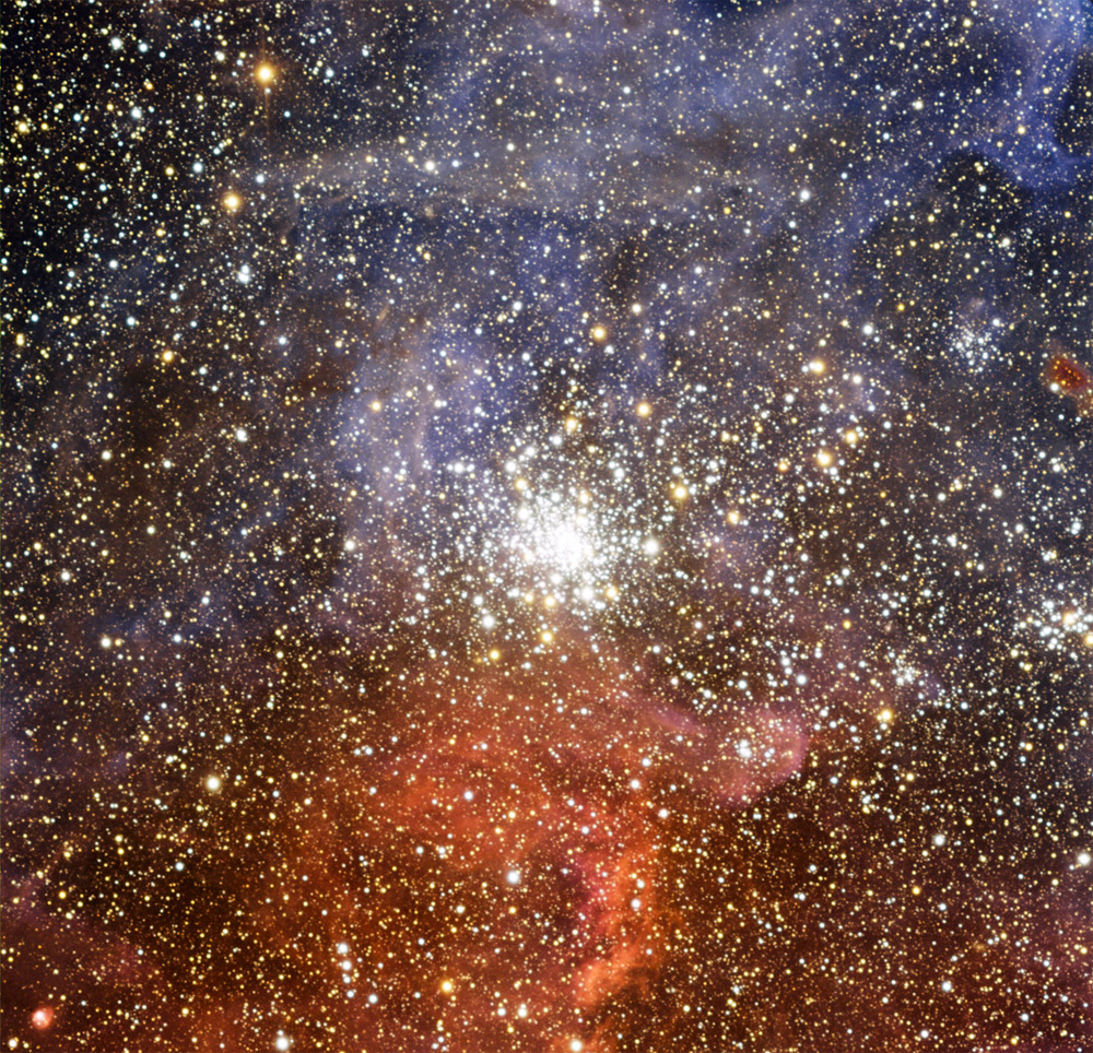Colorful Star Cluster Shines in Tarantula Nebula's Shadow