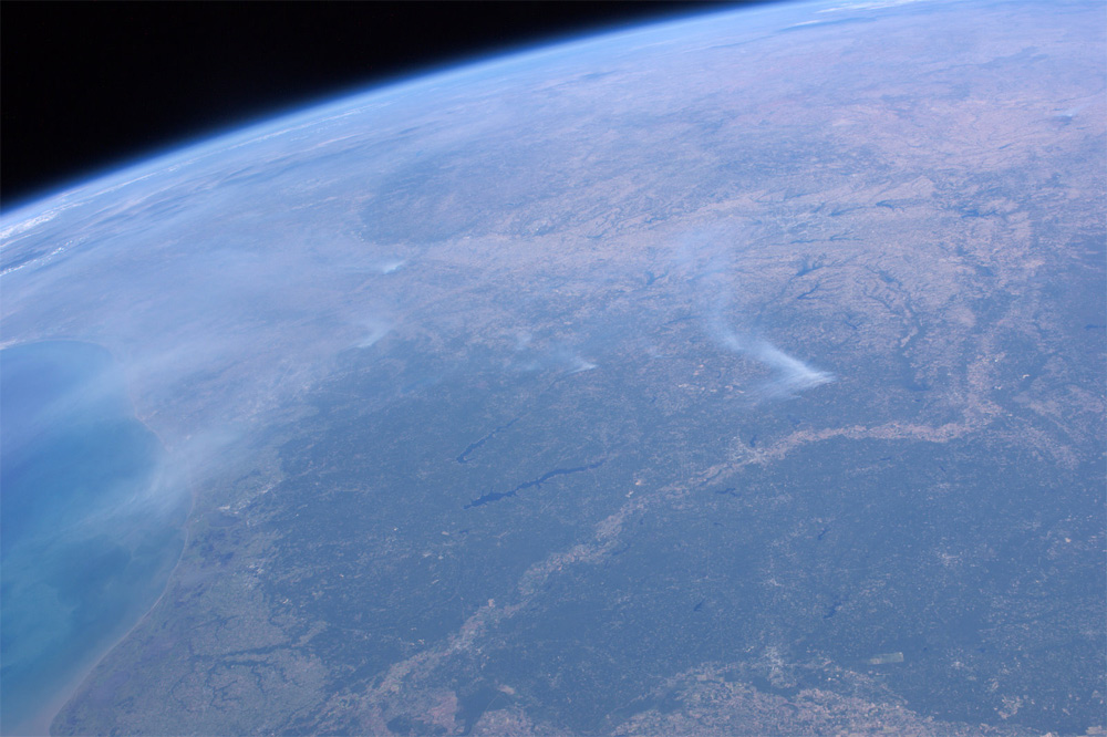 Texas Wildfires Seen From the International Space Station
