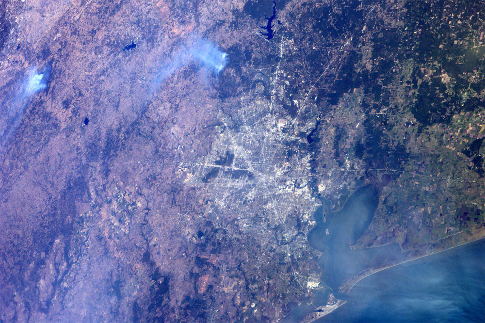 Wildfires North of Houston As Seen From Space