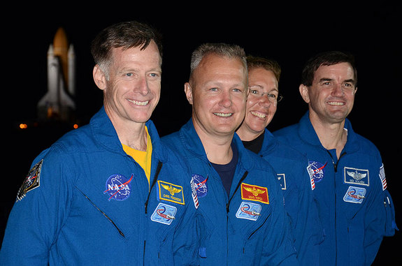 STS-135 Crew at Rollout
