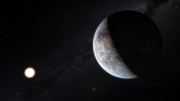 This artist's impression shows the planet HD 85512b orbiting the Sun-like star HD 85512 about 35 light-years from Earth. This planet is about 3.6 times as massive as the Earth is at the edge of the habitable zone around the star, where liquid water, and perhaps even life, could potentially exist.
