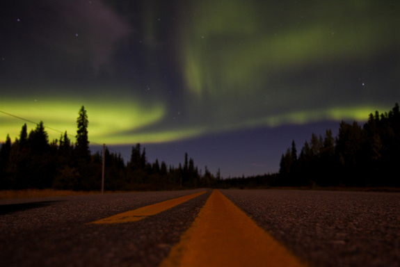 Skywatcher Dan Stanyer set his camera down on the road to take this picture of the aurora on Sept. 9, 2011 near Prince George, British Columbia, Canada.