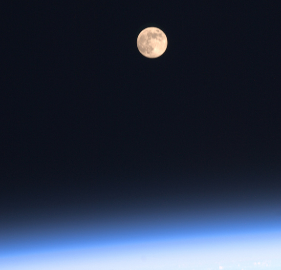 "Astronaut Ron Garan, aboard the International Space Station, tweeted a picture of the Harvest Moon on Sept. 12, 2011: ""One of our 16 moonrises yesterday #FromSpace (I'll miss these)"""