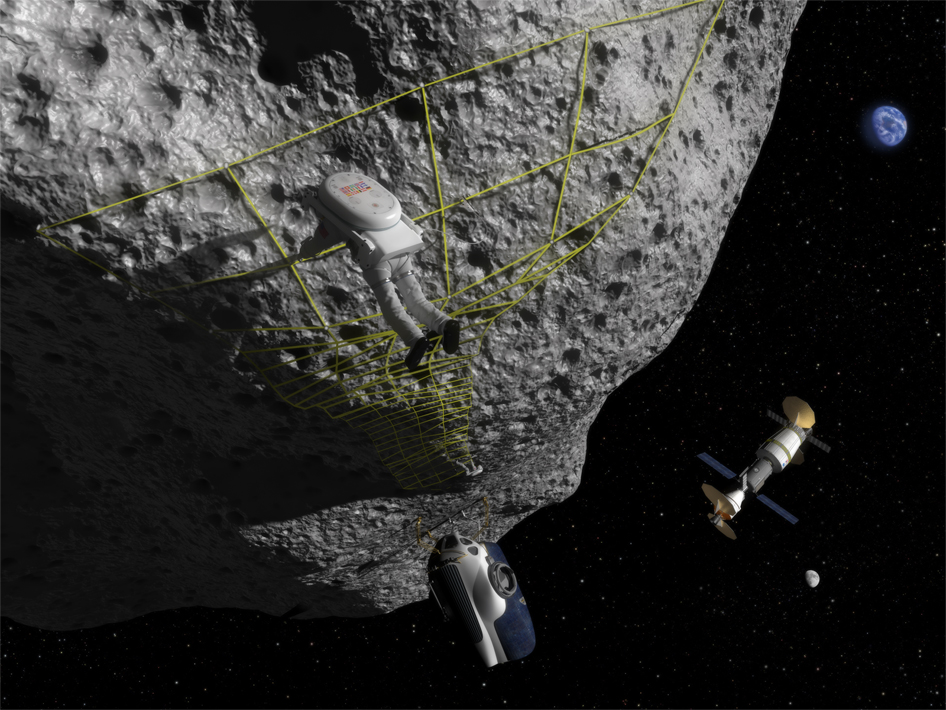 Astronaut Performs Tethering Maneuvers at Asteroid