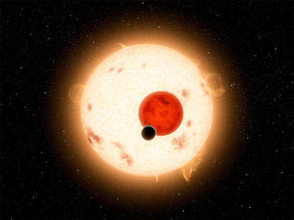 "NASA's Kepler mission has discovered a world where two suns set over the horizon instead of  just one. The planet, called Kepler-16b, is not thought to be habitable. It is a cold world, with a  gaseous surface, and it circles two stars, just like ""Star Wars"" Tatooine."