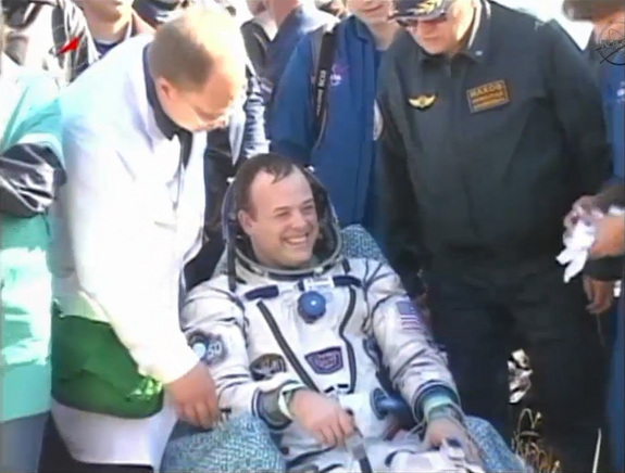 NASA astronaut Ron Garan is all smiles after landing back on Earth aboard a Russian Soyuz TMA-21 spacecraft following a 5 1/2-month mission to the International Space Station. Garan and two cosmonauts returned to Earth on Sept. 15, 2011.