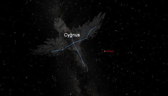 This sky map shows the configuration of stars in the constellation Cygnus (the Swan), which currently appears overhead in the night sky. The bright star Vega is identified as a reference star. The binary Kepler-16 star system, which is home to the Tatooine-like planet Kepler-16b, can be found with telescopes and binoculars within the constellation.