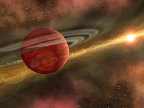 This artist's image shows a newly formed planet swimming through the gas and dust surrounding the star. Such a planet might scoop up gas and dust to build an atmosphere, which it could lose as it moves closer to its sun. Thus it could shift from a gas planet to a terrestrial planet.
