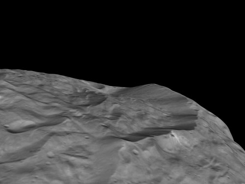 High Cliffs at Vesta's South Pole
