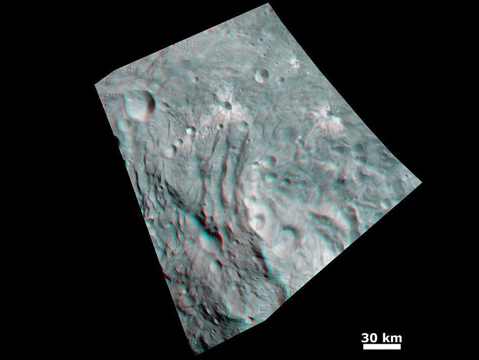 Vesta's Surface in 3D: Details of Wave-Like Terrain in the South Pole
