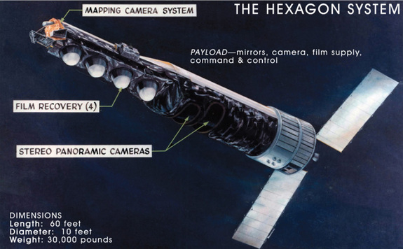 This National Reconnaissance Office released graphic depicts the huge HEXAGON spy satellite, a Cold War era surveillance craft that flew reconnaissance missions from 1971 to 1986. The bus-size satellites weighed 30,000 pounds and were 60 feet long.