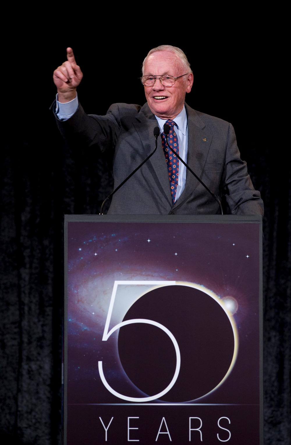 Neil Armstrong Speaks at NASA's 50th Anniversary Gala