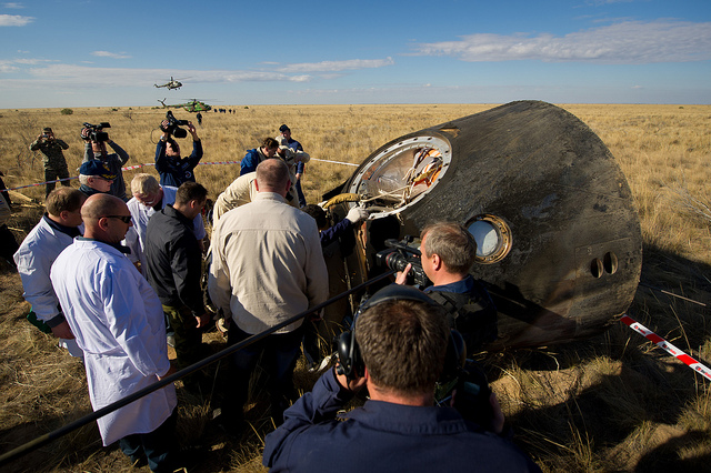 Soyuz Crew Members Exit Safely
