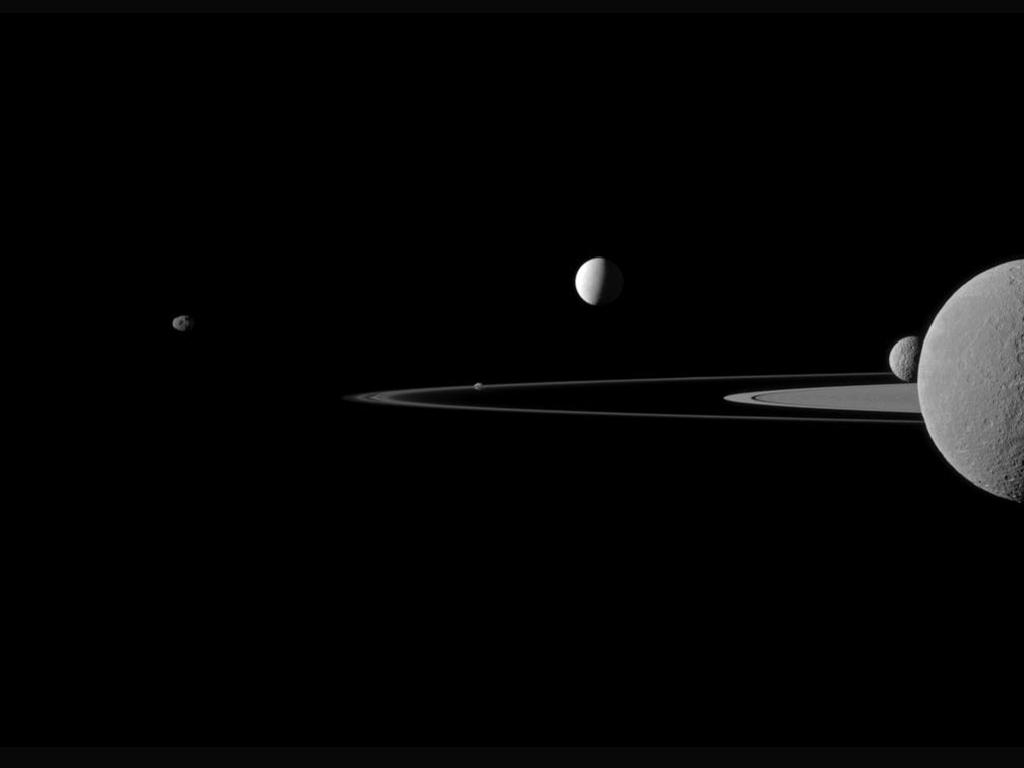 Cassini Photo of Saturn Rings and 5 Moons