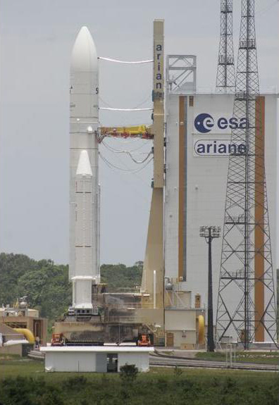 The Ariane 5 rocket on the launch pad Tuesday (September 20, 2011) afternoon