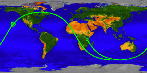 The ground track of NASA's UARS re-entry shows where the defunct satellite was passing over just before it fell to Earth. The circle presents the most likely point of landing, which probably occured around 12:16 a.m. EDT (0416 GMT) on Sept. 24.