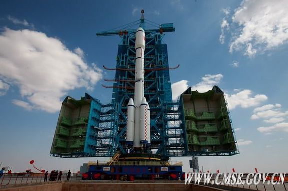 China's Tiangong 1 spacecraft and Long March 2F rocket is pictured at the launch site after being transferred from a facility at the Jiuquan Satellite Launching Center.