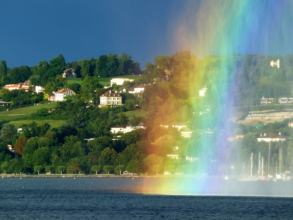 Villa Diodati sits on a steep slope overlooking Lake Geneva. Relatively clear views prevail to the west, but the view of the eastern sky is partially blocked by the hill. A rainbow greeted the Texas State researchers upon their arrival at Lake Geneva.