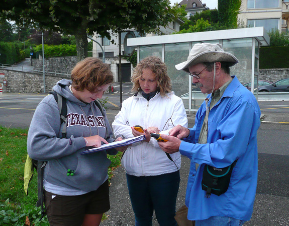 Ava Pope, Kelly Schnarr and Roger Sinnott calculate the slope of the hill near Villa Diodati using GPS positions and elevations.
