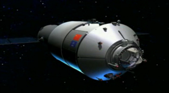 This artist's illustration from a China space agency video shows the Tiangong 1 space laboratory, a prototype module for the country's planned space station.