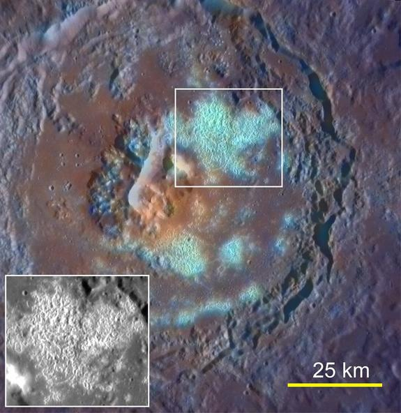 This photo of a Mercury crater seen by NASA's Messenger spacecraft shows what appears to be a large pit in the center, possibly volcanic vent, from which the orange material erupted. Some odd hollows appear in cyan, a result of their high reflectance and bluish color relative to other parts of the planet. This image was released on Sept. 29, 2011.
