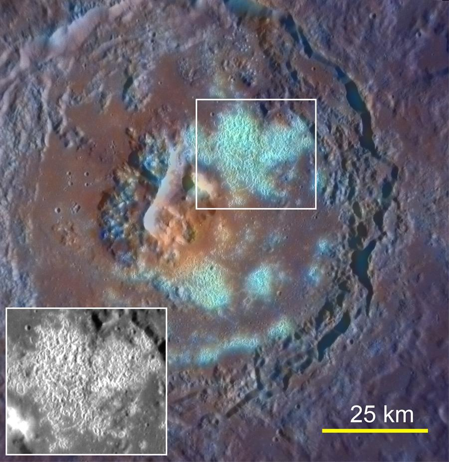 Mercury Crater Covered With Hollows