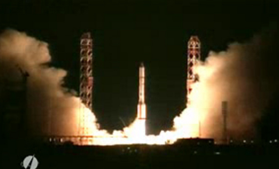 A Russian-built Proton rocket launches the new QuetzSat-1 satellite into orbit from Baikonur Cosmodrome on Sept. 30 (local time) in 2011 in this still from an International Launch Services broadcast.
