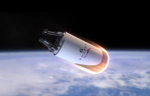 A heat shield protects the second stage of SpaceX's planned fully reusable rocket during its re-entry through Earth's atmosphere in this still from a SpaceX video. The second stage rocket, like SpaceX's first stage, would make a vertical landing at its launch site.