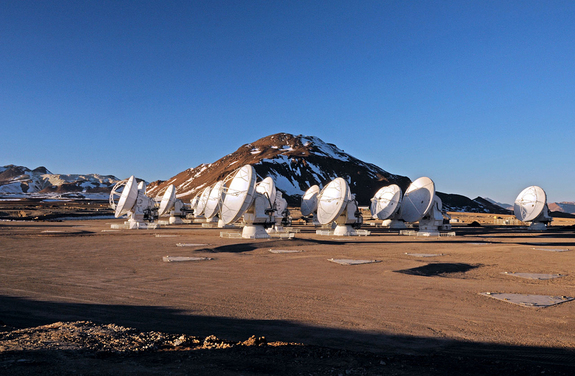 This picture of the ALMA radio antennas on the Chajnantor Plateau in Chile, 16,500 feet above sea level, was taken a few days before the start of ALMA Early Science operations. Nineteen antennas are on the plateau.