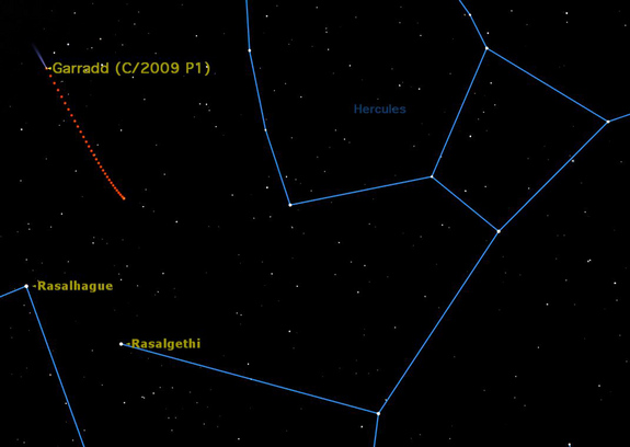 Comet Garradd continues to be a nice object in binoculars or a small telescope, an 8th magnitude comet slowly crossing Hercules.
