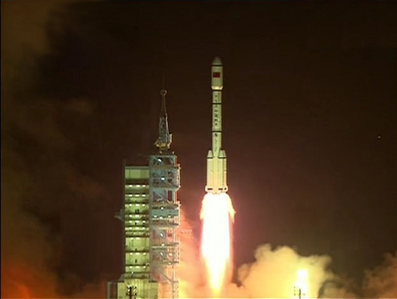 "China's first space laboratory module, Tiangong 1 (Chinese for ""Heavenly Palace"") blasts off from the Jiuquan Satellite Launch Center on Sept. 29, 2011. The module will fly a 2-year mission for docking tests."