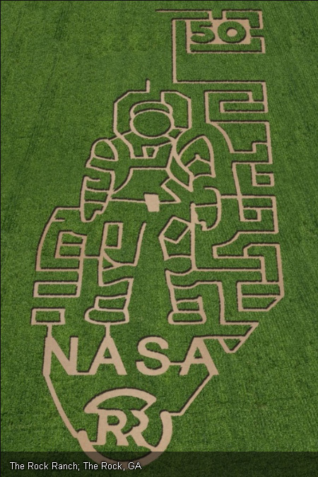 The year 2011 marked the 50th anniversary of human spaceflight and the giant corn maze at the Rock Ranch in The Rock, Georgia, celebrates the event with a giant spacesuit-clad astronaut at its core. The maze is one of seven corn mazes across the United States by farms participating in the Space Farm 7 project in 2011.