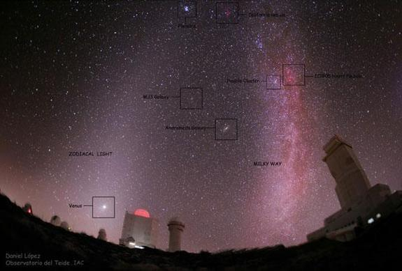 The zodiacal light can be seen as a cone-shaped glow above the planet Venus on the left-hand side of this image. To the right in the image is the concentrated glow of the Milky Way galaxy.